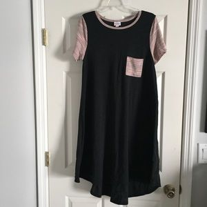 LuLaRoe Carly size Medium dress pink black
